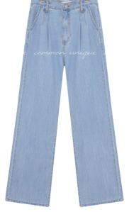 ROOK PINTUCK WIDE DENIM PANTS