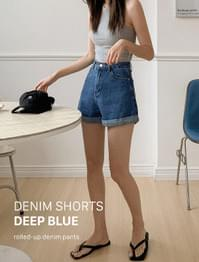 High waist roll-up denim short pants