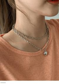Heart Chain Double Necklace