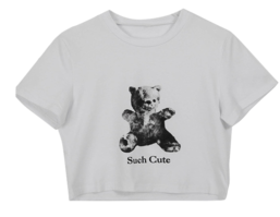 Crop bear printing T-shirt