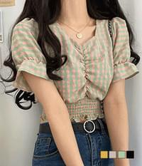 Yomi Gobi Check Crop Blouse