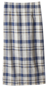 Neladdin linen check long skirt