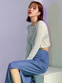 See-through art cropped knit knitwears
