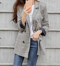 Double Button Check Jacket #65629