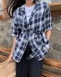 #made some check pop linen belted jacket