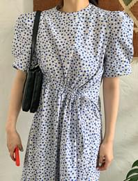 Floral String Puff Long Dress