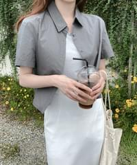 Flody cropped cotton shirt-brown, charcoal same day shipment
