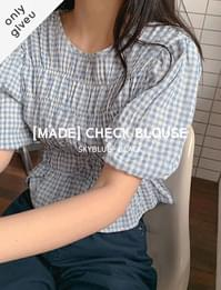 Checked ruched blouse
