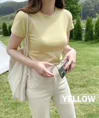 Chewing Chewy Modal Slim Crop T-shirt