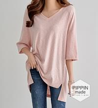 Basic and stylish unbald long T-shirt #107116