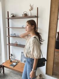 V Neck Shirring Blouse