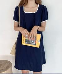 Color point linen dress