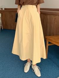 Creamy Flare Bending Long Skirt