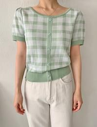 Tweed check puff short-sleeved knit