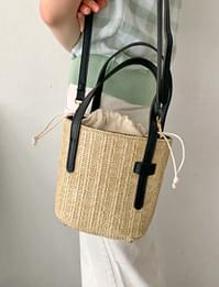 Penny Bucket Rattan Cross Bag