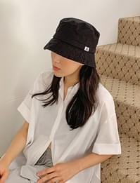 A patch bucket hat