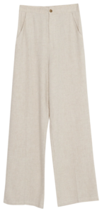 Her wide long linen pants