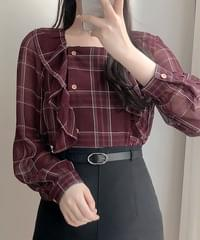Mobile check frill blouse