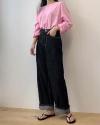 Black Denim Raw Long Wide Pants