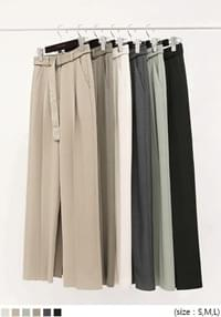 CRUSH PINTUCK BELT LONG SLACKS
