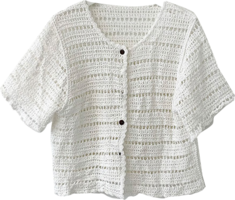 Net punching summer knitted button cardigan