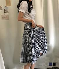 Highly checked flare long skirt