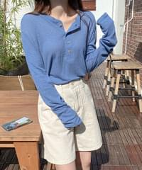 About Loose-fit Linen Henry T-Shirt-Beige, Blue Same Day Shipping