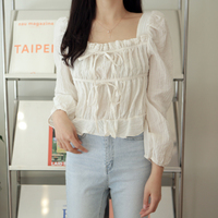 Square Neck Shirring Blouse T#YW490