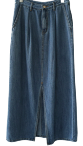 slit soft denim maxi skirt