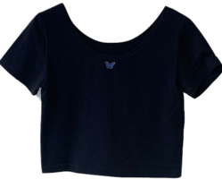 Blue Butterfly Embroidered Short Sleeve U-neck T-Shirt