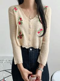 Camellia embroidery knit cardigan