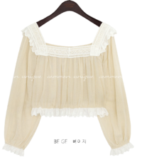 VELLONA LACE FRILL CROP BLOUSE