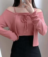 Mabi Ribbon Cardigan + Ribbed String Set