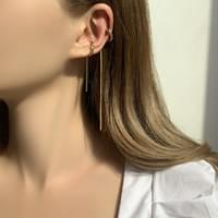 Bold long cut c-type ear cuff