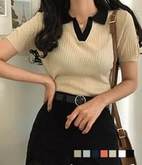 Earl gray color collar ribbed knit