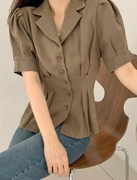 Cocoa Linen Puff Short Sleeve Jacket