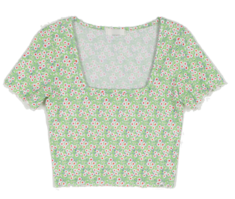 Barbie wave floral square neck t-shirt