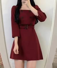 Square Double Button Dress
