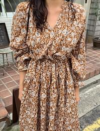 Vintage Flower Shirring Long Dress