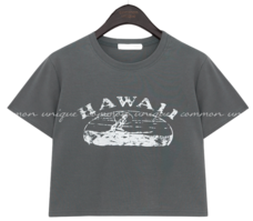 HAWAII VINTAGE PRINTING CROP 1/2 T