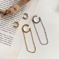 Antique ring chain type c ear cuffs