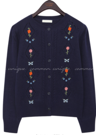 ELLY FLOWER NEEDLE KNIT CARDIGAN