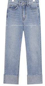 ELLOI CUTTING ROLL UP DENIM PANTS
