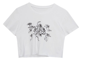 Angel-Themed Print Crop T-Shirt