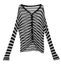 See-through striped knit cardigan