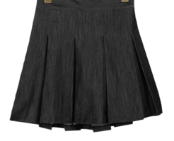 Pleated fold denim skirt