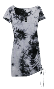 Tie-dye clip shirring dress