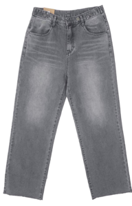 Button wide denim pants-2color