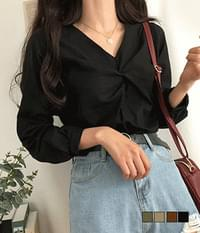 Autumn hemp twisted blouse