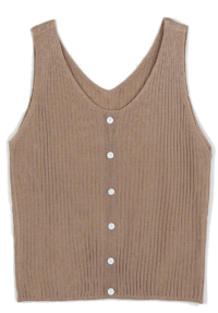 Mori Ribbed Button Sleeveless Knit
